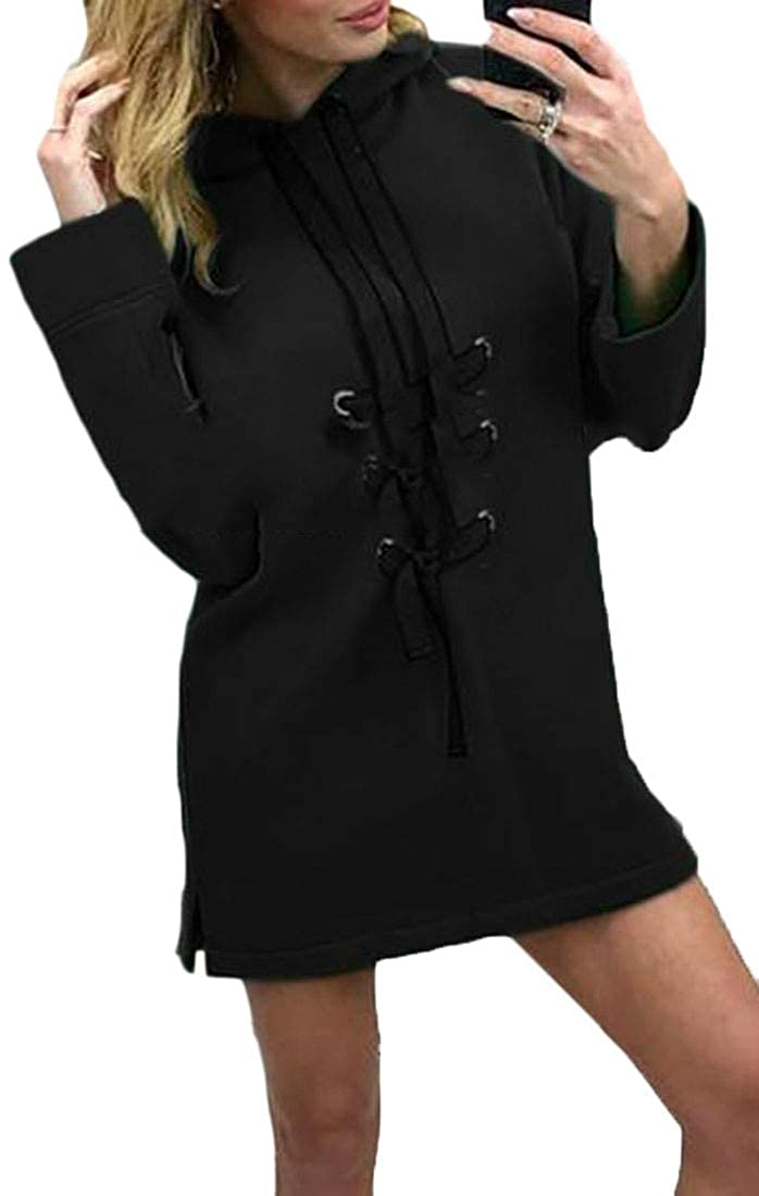 Pluszing Women Long Sleeve Casual Hooded Lace-up Sweatshirt Pullover Dress