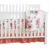 Sahaler 3 pcs set Boho Floral Ruffle Baby Minky Blanket Water color, Peach Floral Nursery Crib Skirt Set Baby Girl Crib Bedding (Coral)