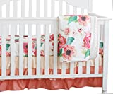 3 pcs set Boho Floral Ruffle Baby Minky Blanket Water color, Peach Floral Nursery Crib Skirt Set Baby Girl Crib Bedding (Coral)