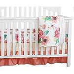3 pcs Set Boho Floral Ruffle Baby Minky Blanket, Peach Floral Nursery Crib Skirt Set Baby Girl Crib Bedding (Coral)