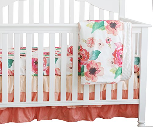 (3 pcs Set Boho Floral Ruffle Baby Minky Blanket, Peach Floral Nursery Crib Skirt Set Baby Girl Crib Bedding (Coral))