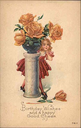 Girl Peeking From Behind a Pedestal With Vase of Yellow Roses Original Vintage Postcard