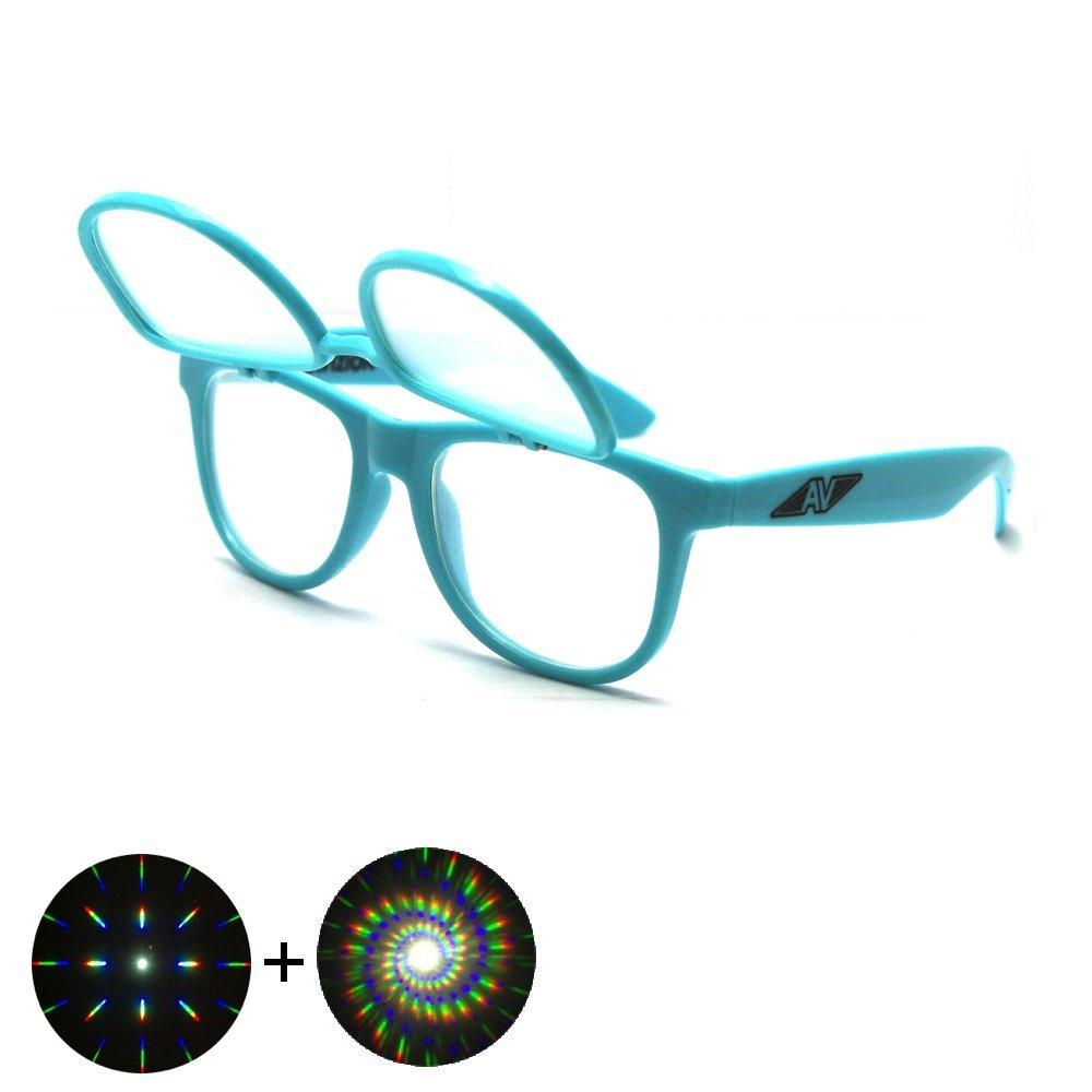 Flip Up Double Diffraction Glasses - Green Frame Auroravizion