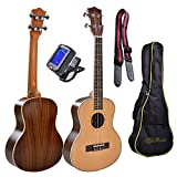 Tenor, 26 Inch, Spruce Top, Rosewood Body Ukulele Bundle with 4 Items: Tuner, Uke Strap, 2 Installed Strap Pins and Carrying Gig Bag. Setup, Inspected and Guaranteed for Playability and Intonation