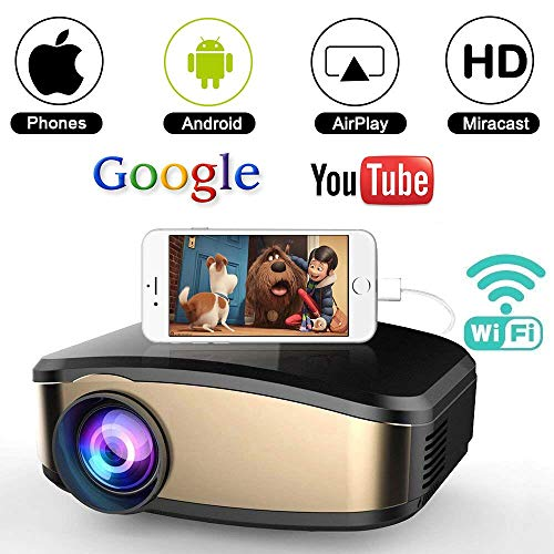 WiFi Movie Projector, WEILIANTE 50% Brighter LED Portable Mini Video Projector, WiFi Directly Connect with Smartphones Device (1080p Supported) Support USB HDMI VGA -