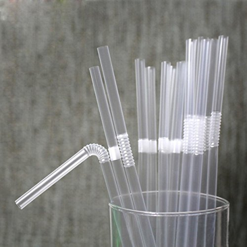 TIENO 100 Pieces Clear Disposable Drinking Straws Flexible Plastic Soda Smoothies Straw with Individual (100 Packing)