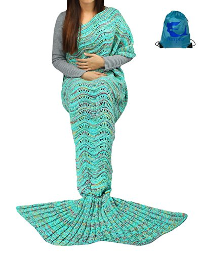 Junpro Mermaid Tail Blanket for Adult Kids Soft Hand Crochet Sleeping Bag for Girls Women in Sofa Bed Living Room (Adult, Wave - Mint)