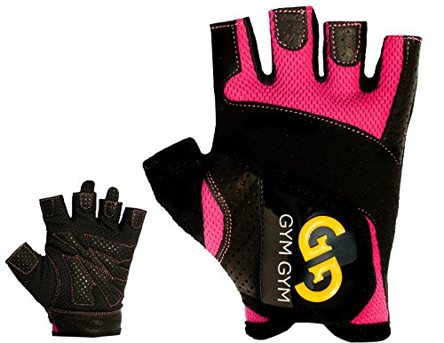 Weightlifting Gloves Pair by GYM GYM, For Women, Half-Finger Design, Quality Material, Comfortable, Secure No-Slip Grip, Sweat-Resistant, Easy Wear, Washable, Essential Workout Accessory (Pink,Medium)