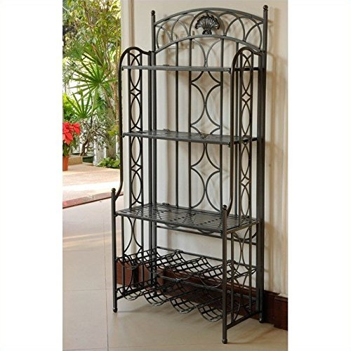 International Caravan Mandalay Bakers Rack in Antique Black