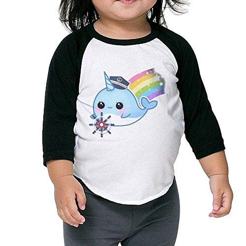 (KissKid Cute Kawaii Captain Narwhal with Rainbow Infants 3/4 Sleeve Tshirt 4 Toddler)