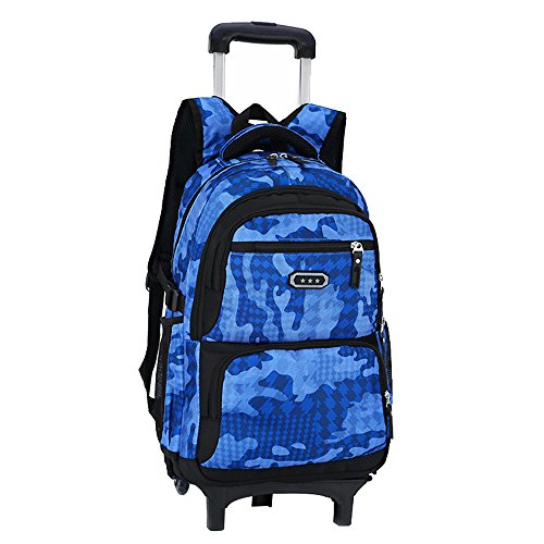 Camouflage Rolling Backpack - Fanci Flora Camo Waterproof Elementary Rolling Trolley School Bag Backpack Boys Camouflage Wheeled Backpack Carry on Luggage Two Wheels