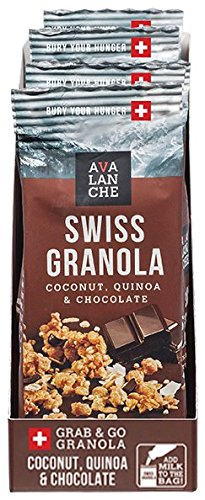 Avalanche Coconut, Quinoa & Chocolate Swiss Granola, 1.76 Ounce Bag (Pack of 6) Non-GMO, All Natural, Kosher, Portable Packet of Granola, Convenient Size Snack On The Go, Can Pour in Milk or Yogurt