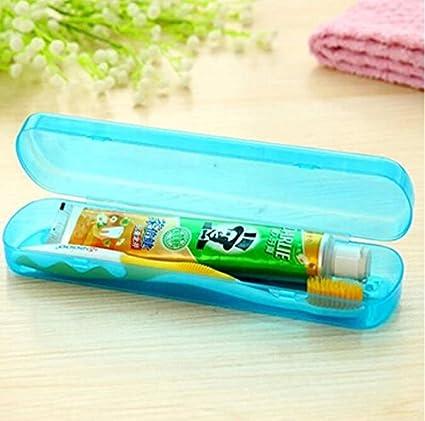 flowerkui portátil azul viaje cepillo de dientes pasta de dientes caja de almacenamiento