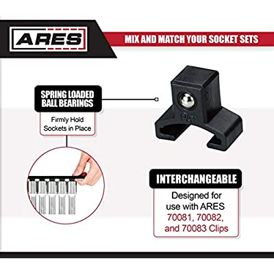 ARES 70122-3/8-Inch Drive 9.84-Inch Aluminum Socket Organizer - Store up to 10 Sockets and Keep Your Tool Box Organized - Sockets Will Not Fall Off this Rail: Automotive