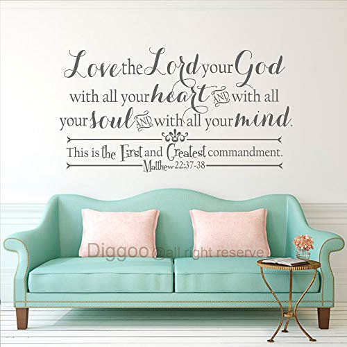 DIGGOO Christian Wall Decal Love The Lord Your God Matthew 22:37-38 Scripture Wall Decal Vinyl Lettering Home Living Room Decor (Gray,27