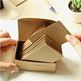 DCDEAL 100pcs Kraft Paper Card Blank Kraft Cardboard Word Card Message Card DIY Blank Gift Card Double-sided Available