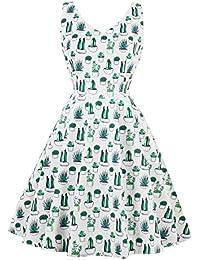 Women's Cactus Print Tank V Neck Spring Summer Vintage 60s 70s Dress