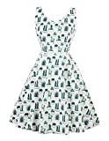 Wellwits Women's Cactus Print Tank V Neck Spring Summer Vintage 60s 70s Dress 3XL Green