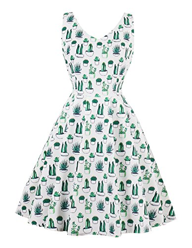 Wellwits Women's Cactus Print Tank Tea Length Spring Summer Vintage 60s 70s Dress M