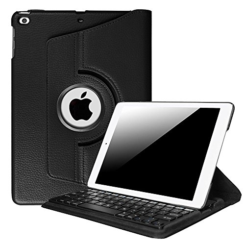 Fintie iPad 9.7 inch 2018 2017 / iPad Air 2 / iPad Air Keyboard Case - 360 Degree Rotating Stand Cover w/Built-in Wireless Bluetooth Keyboard for Apple iPad 9.7 / iPad Air 2 / iPad Air, Black