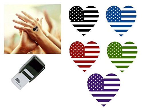 STARS & STRIPES HEART FLAG Hand Stamp - suitable for Festivals, Parties, Clubs, Special Events, Bars etc. (Red) by Handy Stamps