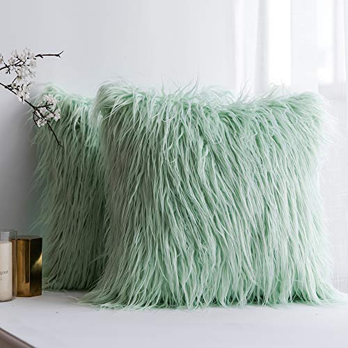 MIULEE Pack of 2 Decorative New Luxury Series Style Water Green Faux Fur Throw Pillow Case Cushion Cover for Sofa Bedroom Car 18 x 18 Inch 45 x 45 cm