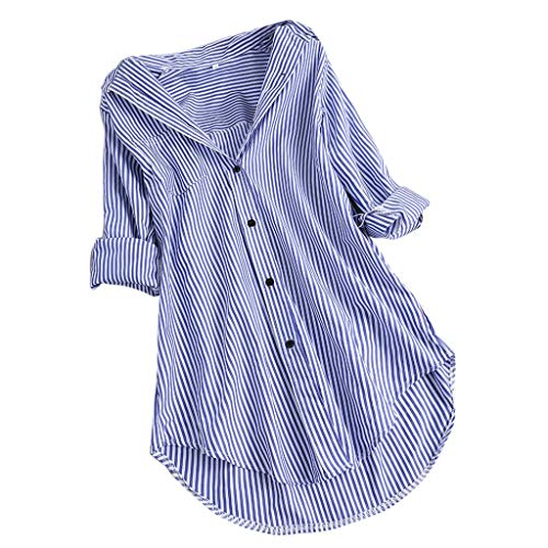 (Womens Chic Stripe Long Sleeve Turn-Down Collar Button Loose Top Shirts Blouse Sky Blue)