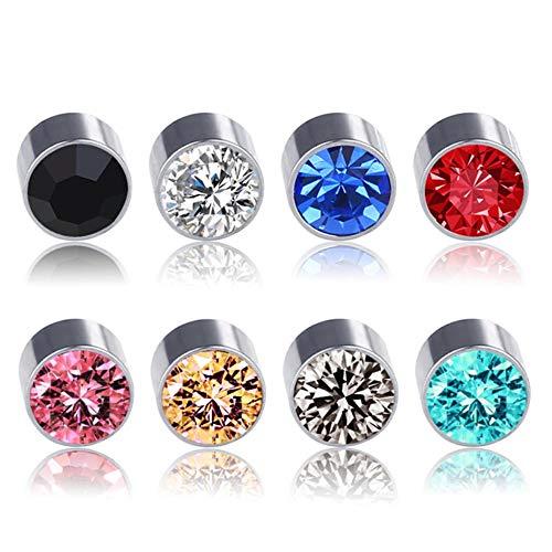 Kangkang 5mm Crystal Magnetic Stud Earring Magnet Nose Ear Lip Stud Non Piercing Tragus Nose Stud 8 Pairs/ Pack (8 Pairs White)