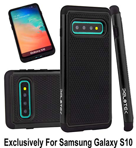 Pelotek; Samsung Galaxy S10 Black Phone Case | Samsung S10 Tough Case | Rugged Heavy-Duty Shock Absorbing Ballistic Case | Hybrid Attractive Luxury Design Pattern Soft Grip Protective Case (Black