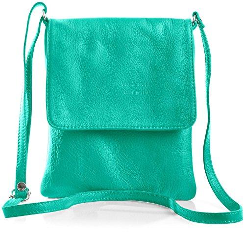 BHBS Kleine Damen Cross-Body-Tasche Mit Echtem Weichem Leder 18 x 23 cm (B x H) - Turquoise