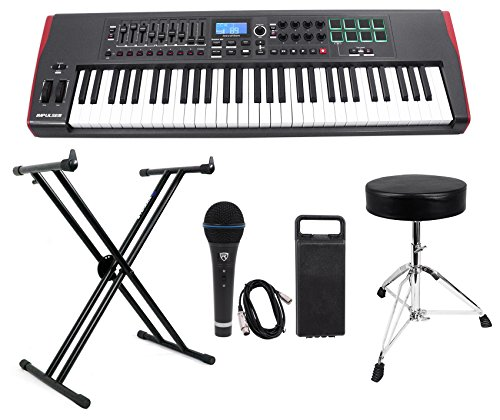 (Novation IMPULSE 61-Key Ableton Live USB Keyboard Controller+Stand+Throne+Mic)