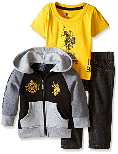 U.S. Polo Assn. Baby-Boys Newborn 3 Piece Fleece Jacket T-Shirt and Denim Jean, Egg Yoke, 18 Months