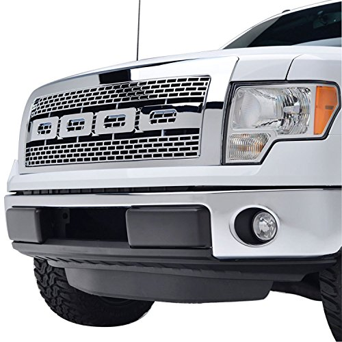 09 Chrome Grille Shell - EAG 09-14 Ford F-150 Raptor Grille Chrome ABS Replacement Grill With Shell