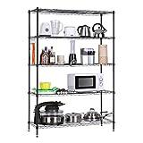LANGRIA 5 Tier Garage Shelving Shelving Unit, Storage Rack Garage Shelf Heavy Duty Metal Shelves,Black