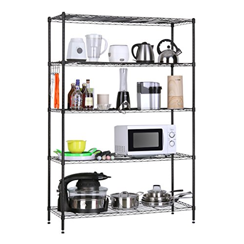 LANGRIA 5 Tier Heavy Duty Extra Large Storage Organization Rack and Shelving Unit for Garage Kitchen, 47.2''x17.7''x66.9'' 441 lbs, Black