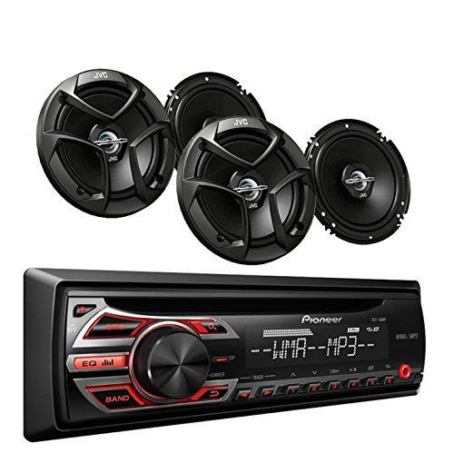 Pioneer DEH-150MP Car Audio CD MP3 Stereo Radio Player, Front Aux Input with  JVC 6.5 Inch 2-WAY Car Audio Speaker (Black) (Subaru Forester Radio)