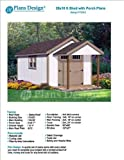 20' x 10' Potting Patio / Poolhouse Covered Garden Shed Plans - Design #P72010