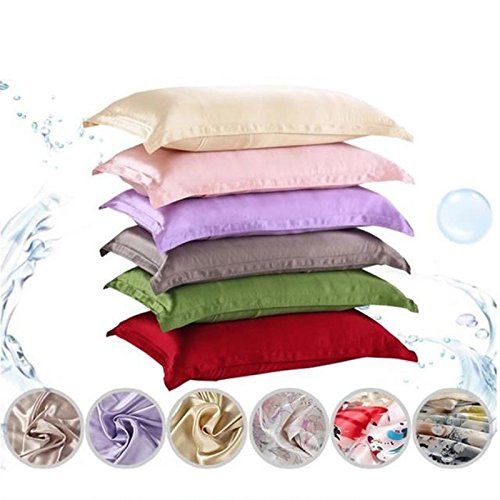Choson Vic 2 Pack Pure Emulation Silk Pillowcase King Size 18.5x29 inch Black Light Pink Dark Pink White Brown Gold Gray Purple Blue Light Gold (Brown)