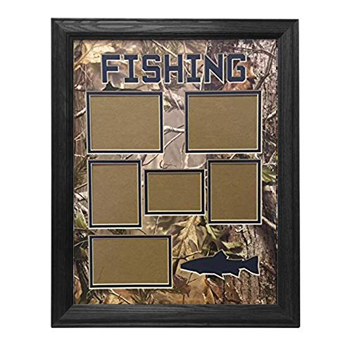 (Northern Promotions, LLC. Framed & Matted Wildlife Art Real Tree Hunting Collage - Fishing (Black Oak) )