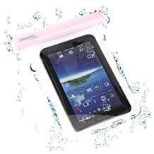 "GreatShield Mariner (IP-68 Certified) Waterproof Protective Pouch Sleeve With Strap Compatible with Apple iPad Mini, Amazon Kindle Fire 7"", Fire HD 7"", E-reader PaperWhite, Google Nexus 7, Samsung Galaxy Tab 7/7.7"" Tab 3, Blackberry Playbook (Pink)"