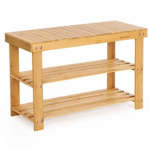 SONGMICS 3 Tier Bamboo Wood Shoe Rack Bench, Shoe Organizer,Storage Shelf  Holds Up To 264 Lbs,ideal For Entryway Hallway Bathroom Living Room And  Corridor ...