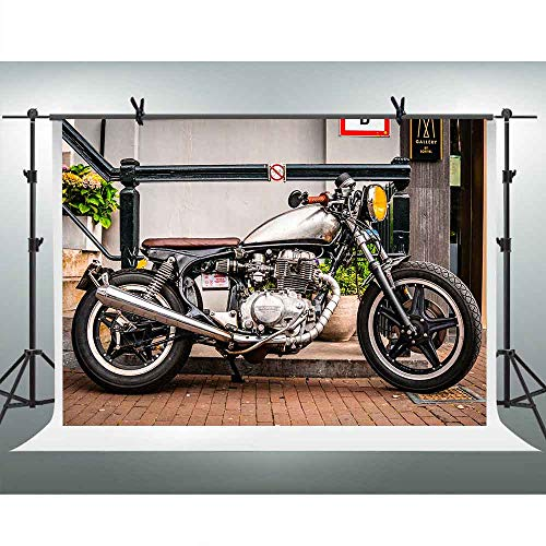 FHZON Background 10x7ft Motorcycle Photography Backdrop Themed Party Portrait Wallpaper Photo Booth Props DSFH158]()