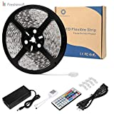 LE Freshinsoft 16.4ft 5m UL Cet. LED Flexible Light Strip SMD 5050 300LEDs 12V DC Waterproof Light Strips LED Holiday ribbon Car Bar Indoor Party Decoration light kit 44key IR Remote + 5A Power Supply