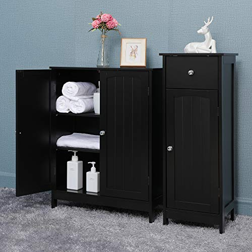 Iwell Bathroom Floor Storage Cabinet with 2 Adjustable Shelf, 6 Heights Available, Free Standing Kitchen Cupboard, Wooden Storage Cabinet with 3 Doors, Office Furniture (Black)