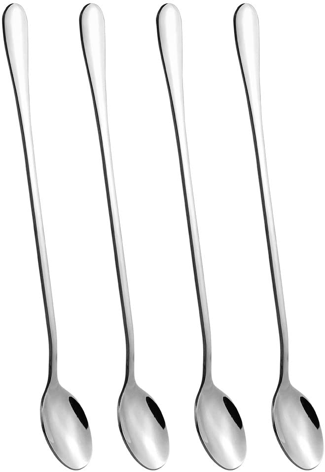 4 pcs 9 Inch Long Handle Iced Tea Spoon, Coffee Spoon, Ice Cream Spoon, Stainless Steel Cocktail Stirring Spoons for Mixing, Cocktail Stirring, Tea, Coffee, Milkshake, Cold Drink