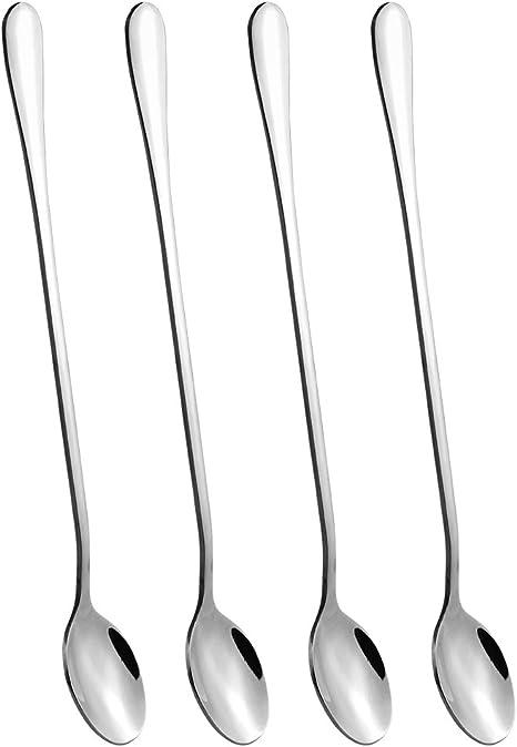 9-inch Iced Tea Spoon Stainless Steel Long Handle Spoon Milkshake Spoon T4C8