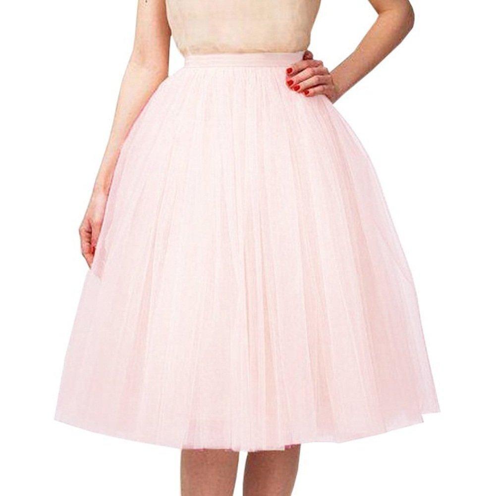 Riveroy Women's Vintage A-Line 5 Layered Petticoat Swing Tulle Tutu Skirt Blushing Pink