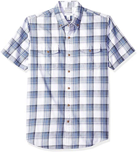 Amazon Essentials Men's Slim-Fit Short-Sleeve Two-Pocket Twill Shirt, Navy/White Plaid, XX-Large