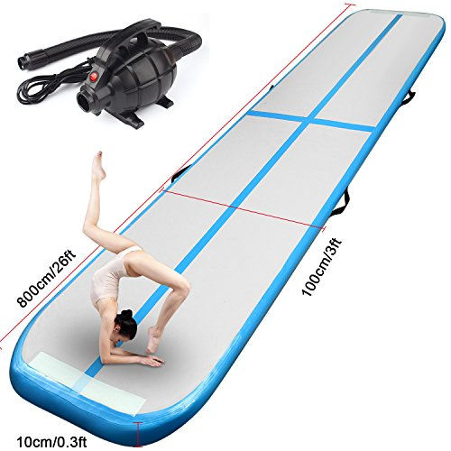 FBSPORT Inflatable Gymnastics AirTrack Tumbling Mat Air Track Floor Mats with Electric Air Pump for Home Use/Training/Cheerleading/Beach/Park and Water (New Blue, 26)