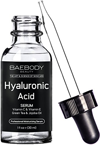 Baebody Hyaluronic Acid Serum for Face, Professional Anti-Aging Topical Facial Serum w Vitamin C & Vitamin E, Reduces Look of Wrinkles & Fine Lines for Radiant and Younger Looking Skin, 1oz Anti Wrinkle Regenerative Cream